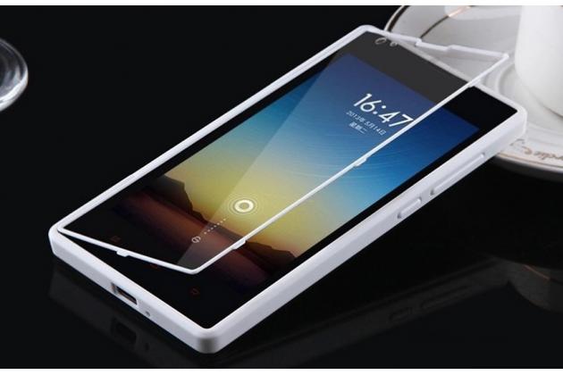 Фирменный оригинальный водоотталкивающий ультратонкий чехол-книжка с закаленным стеклом для Xiaomi Red Rice/Red Rice 1S белый