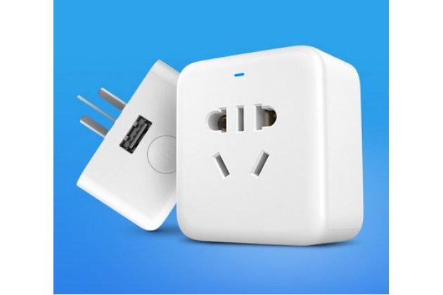 Фирменная умная беспроводная Wi-Fi розетка XiaoMi Smart Socket с USB-разъёмом и переходником для нашей розетки