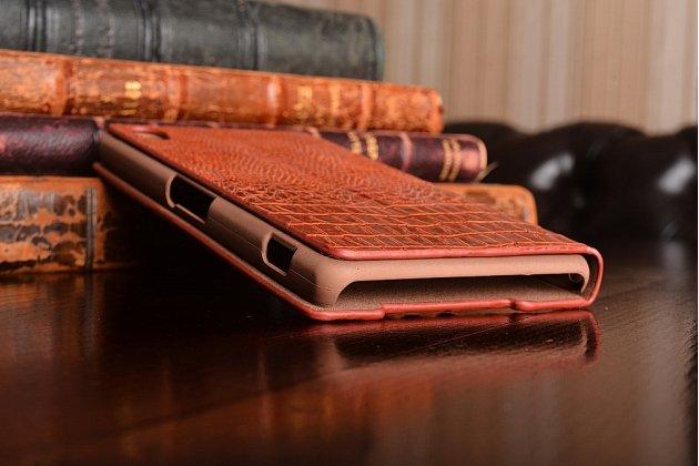 Фирменный роскошный эксклюзивный чехол с объёмным 3D изображением кожи крокодила для Sony Xperia Z2 (D6503). Только в нашем магазине. Количество ограничено
