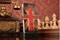 "Фирменный чехол-книжка с рисунком на тему ""Ретро Британский флаг"" на Xiaomi Mi4  с окошком для звонков"