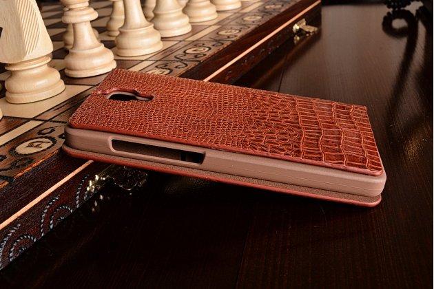 Фирменный роскошный эксклюзивный чехол с объёмным 3D изображением кожи крокодила для Xiaomi Mi4 черный. Только в нашем магазине. Количество ограничено