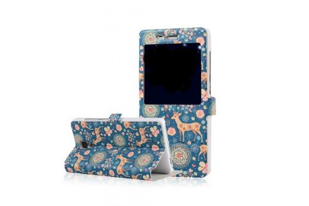 Фирменный чехол-книжка с безумно красивым расписным рисунком Оленя в цветах на Xiaomi Mi4  с окошком для звонков