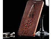 Фирменный роскошный эксклюзивный чехол с объёмным 3D изображением кожи крокодила коричневый для Samsung Galaxy..