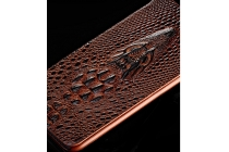 Фирменный роскошный эксклюзивный чехол с объёмным 3D изображением кожи крокодила коричневый для Samsung Galaxy S5 SM-G900H/G900F . Только в нашем магазине. Количество ограничено