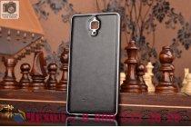 Фирменная роскошная элитная премиальная задняя панель-крышка на металлической основе обтянутая импортной кожей для Xiaomi Mi4  королевский черный