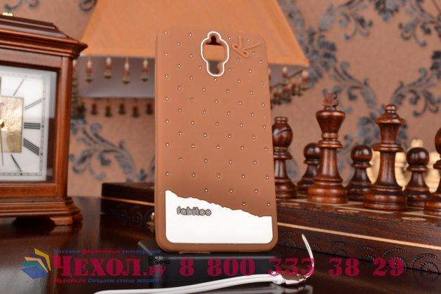 """Фирменная необычная уникальная полимерная мягкая задняя панель-чехол-накладка для Xiaomi Mi4  """"тематика Андроид в тёмном Шоколаде"""""""