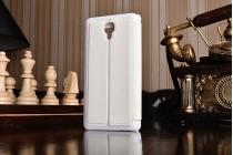 Фирменный оригинальный чехол-книжка для Xiaomi Miui Mi4 белый кожаный с окошком для входящих вызовов