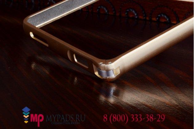 Фирменный оригинальный ультра-тонкий чехол-бампер для Xiaomi Mi4 золотой металлический