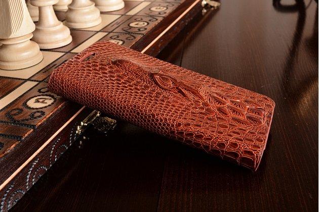 Фирменный роскошный эксклюзивный чехол с объёмным 3D изображением кожи крокодила коричневый для Samsung Galaxy A3 SM-A300F/H/YZ. Только в нашем магазине. Количество ограничено