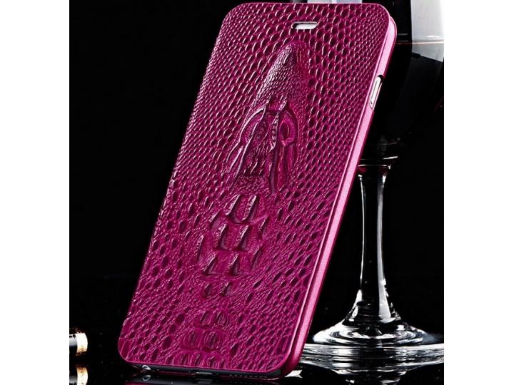 Фирменный роскошный эксклюзивный чехол с объёмным 3D изображением кожи крокодила лавандовый для Sony Xperia Z3..