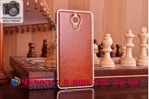 Фирменная роскошная элитная премиальная задняя панель-крышка на металлической основе обтянутая импортной кожей для Xiaomi Mi4  королевский коричневый