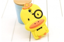 """Фирменная задняя панель-чехол-накладка с объёмным 3D изображением для Xiaomi Mi4  """"тематика веселый утенок"""" желтый"""