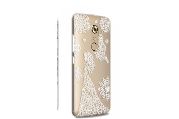 """Фирменная задняя панель-чехол-накладка из прозрачного 3D силикона с объёмным рисунком для ZTE AXON 7/ Axon 2 (A2017G) 5.5 """" тематика """"девушка в цветах"""" которая огибает логотип чтобы была видна марка телефона"""