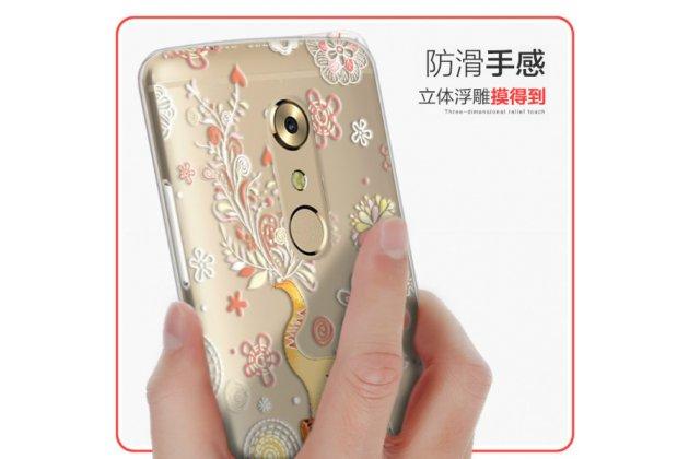 """Фирменная задняя панель-чехол-накладка из прозрачного 3D силикона с объёмным рисунком для ZTE AXON 7/ Axon 2 (A2017G) 5.5 """" тематика """"оленя в цветах"""" которая огибает логотип чтобы была видна марка телефона"""