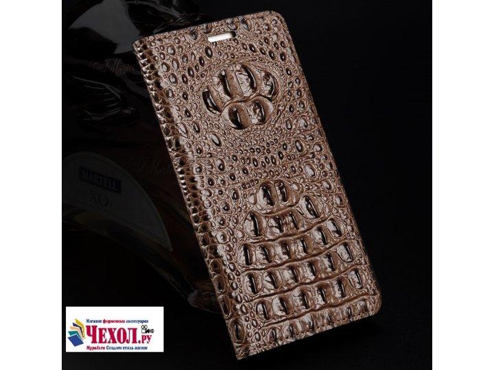Фирменный роскошный эксклюзивный чехол с объёмным 3D изображением кожи крокодила коричневый для ZTE AXON 7/ Ax..