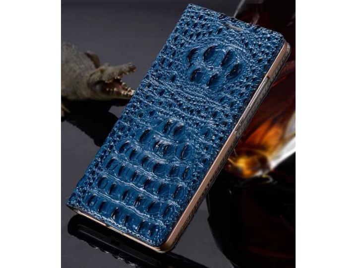 Фирменный роскошный эксклюзивный чехол с объёмным 3D изображением кожи крокодила синий для ZTE AXON 7/ Axon 2 ..