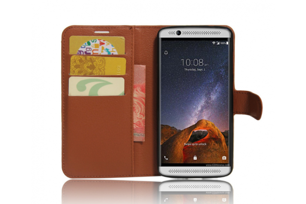 """Фирменный чехол-книжка для  ZTE Axon 7 Mini"""" с визитницей и мультиподставкой коричневый кожаный"""