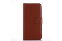 """Фирменный чехол-книжка для  ZTE AXON Pro 5.5""""(5200)  с визитницей и мультиподставкой коричневый кожаный"""