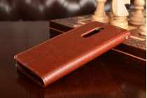 """Фирменный чехол-книжка для  ZTE AXON 7/ Axon 2 (A2017G) 5.5"""" с визитницей и мультиподставкой коричневый кожаный"""