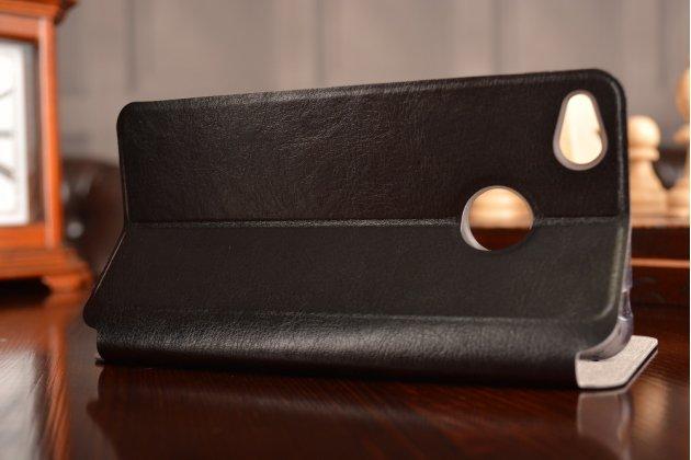 Фирменный чехол-книжка из качественной водоотталкивающей импортной кожи на жёсткой металлической основе для ZTE Nubia Z11 mini S 5.2 черный