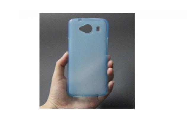 Фирменная ультра-тонкая полимерная из мягкого качественного силикона задняя панель-чехол-накладка для ZTE Blade L370 голубая