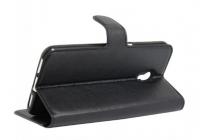 Фирменный чехол-книжка для ZTE Blade L370/ЗэТэЕ Блэйд Эл 370  с визитницей и мультиподставкой черный кожаный