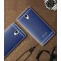 Фирменная премиальная элитная крышка-накладка на ZTE Blade A510 синяя из качественного силикона с дизайном под..