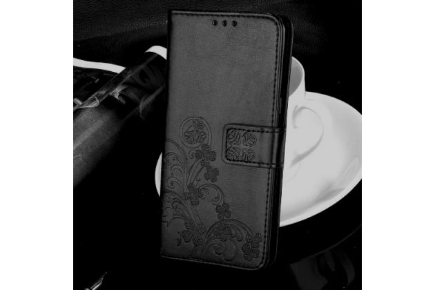 Фирменный чехол-книжка с красивым узором из качественной импортной кожи с подставкой застёжкой и визитницей для LG K10 (2017) M250 5.3 черный
