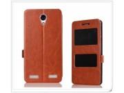 Фирменный чехол-книжка для ZTE Blade A520 5.0 (BA520) коричневый с окошком для входящих вызовов и свайпом водо..