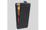 Фирменный оригинальный вертикальный откидной чехол-флип для ZTE Blade A610 Plus черный из натуральной кожи Prestige