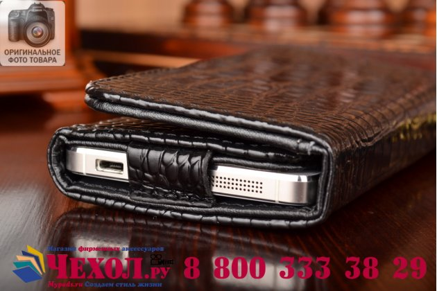 Фирменный роскошный эксклюзивный чехол-клатч/портмоне/сумочка/кошелек из лаковой кожи крокодила для телефона ZTE Blade A610. Только в нашем магазине. Количество ограничено