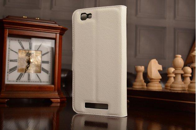Фирменный чехол-книжка для ZTE Blade A610 / BA610T 5.0  с визитницей и мультиподставкой белый кожаный
