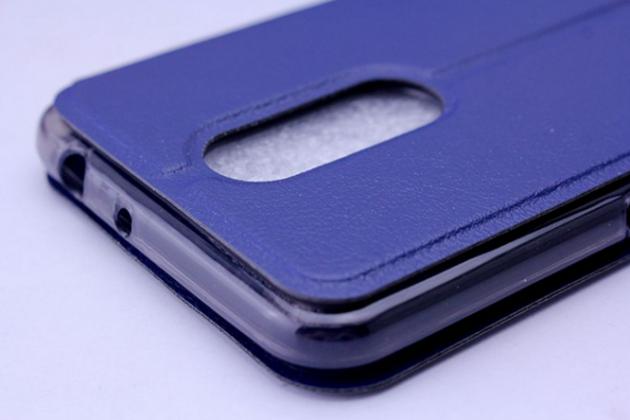 Фирменный оригинальный чехол-книжка для ZTE Blade A910 / BA910 5.5 синий с окошком для входящих вызовов и мультиподставкой  водоотталкивающий