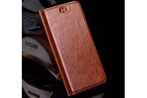 """Фирменный премиальный элитный чехол-книжка из качественной импортной кожи с мульти-подставкой для ZTE Blade A910 / BA910 5.5""""  коричневый"""