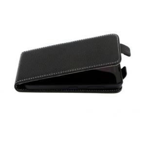 """Фирменный оригинальный вертикальный откидной чехол-флип для  ZTE Blade AF3 4.0"""" черный кожаный"""