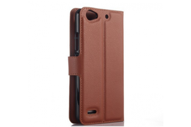 """Фирменный чехол-книжка из качественной импортной кожи с подставкой застёжкой и визитницей для ZTE Blade L4/ L4 Pro (A460) 5.0""""  коричневый"""