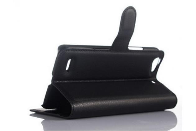 """Фирменный чехол-книжка из качественной импортной кожи с подставкой застёжкой и визитницей для ZTE Blade L4/ L4 Pro (A460) 5.0"""" черный"""
