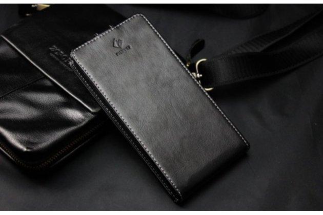 Фирменный роскошный элитный чехол-флип для ZTE Blade Q Lux 3G/ Q Lux 4G (A430)  черный
