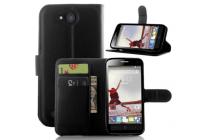 Фирменный чехол-книжка из качественной импортной кожи с подставкой застёжкой и визитницей для ZTE Blade Q Lux 3G/ Q Lux 4G (A430) черный