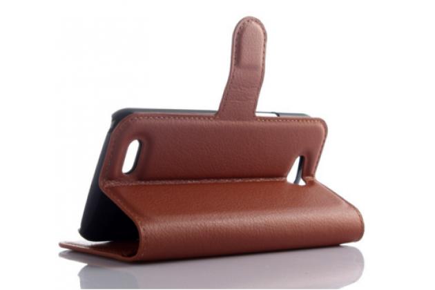 Фирменный чехол-книжка из качественной импортной кожи с подставкой застёжкой и визитницей для ZTE Blade Q Lux 3G/ Q Lux 4G (A430) коричневый