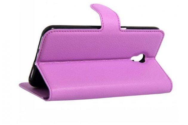 """Фирменный чехол-книжка для  ZTE Blade V7 Lite 5.0"""" / ЗТЕ Блэйд V7 Lite 5.0""""  с визитницей и мультиподставкой фиолетовый кожаный"""