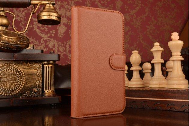 """Фирменный чехол-книжка для  ZTE Blade X5/D3  5.0 / ЗТЕ Блэйд X5/D3  5.0""""  с визитницей и мультиподставкой коричневый кожаный"""