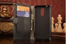 """Фирменный чехол-книжка с подставкой для ZTE Blade X5/D3  5.0"""" лаковая кожа крокодила черный"""