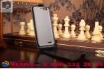 """Фирменный оригинальный вертикальный откидной чехол-флип для ZTE Blade X5/D3 черный из натуральной кожи """"Prestige"""" Италия"""