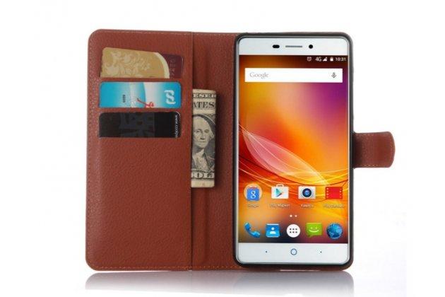 Фирменный чехол-книжка из качественной импортной кожи с мультиподставкой и визитницей для ZTE Blade X9  коричневый