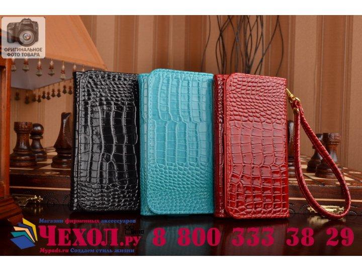 Фирменный роскошный эксклюзивный чехол-клатч/портмоне/сумочка/кошелек из лаковой кожи крокодила для телефона Z..