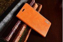 Фирменный премиальный чехол бизнес класса для ZTE Nubia N1 5.5 из качественной импортной кожи коричневый