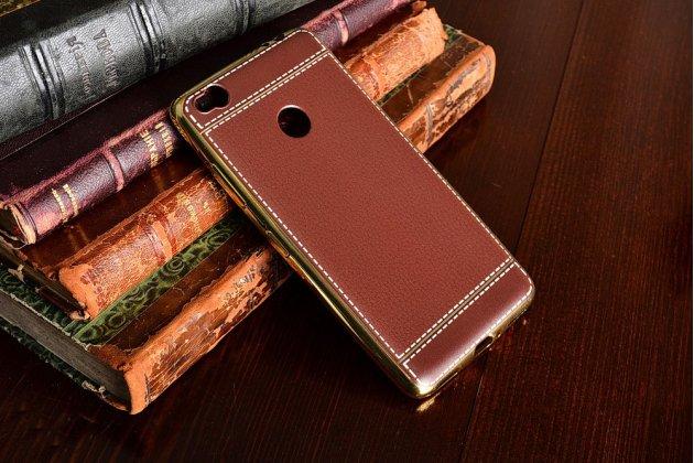 Фирменная премиальная элитная крышка-накладка на ZTE Nubia N1 коричневая из качественного силикона с дизайном под кожу