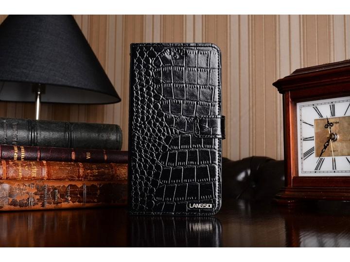 Фирменный роскошный эксклюзивный чехол с фактурной прошивкой рельефа кожи крокодила и визитницей черный для ZT..