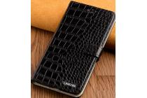 Фирменный роскошный эксклюзивный чехол с фактурной прошивкой рельефа кожи крокодила и визитницей черный для ZTE Nubia N1. Только в нашем магазине. Количество ограничено
